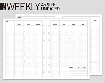Printable Weekly Planner Insert   Filofax A5 size Wo2p   undated Weekly Scheduler/undated Weekly planner