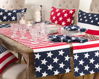 STAR SPANGLED Table Runner / Napkins / Placemats / Pillows