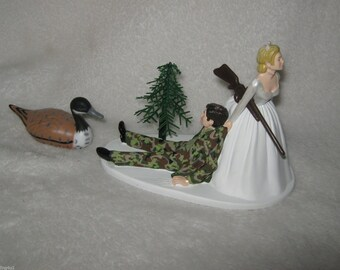 Wedding Reception Party Camo Rifle Gun Duck Fowl Hunting Camo Hunter Cake Topper
