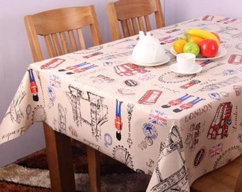 "London CITY  wipe over vinyl table cloth by the yard 54"" WIDE"
