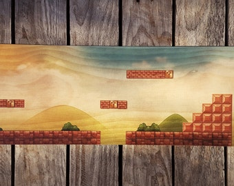 Super Mario World 1-1 Woodblock Art