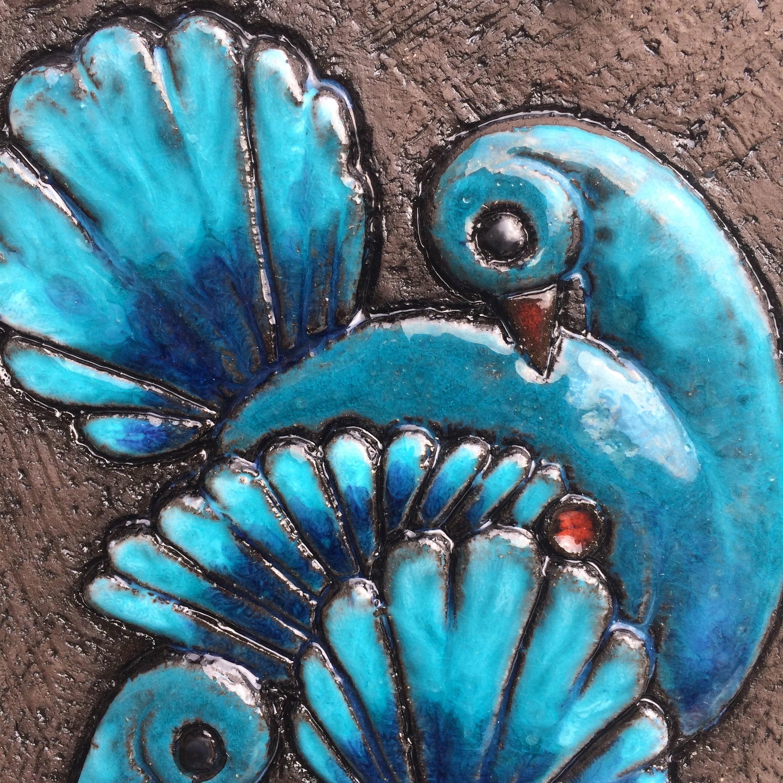 Big Retro Swedish ceramic tile wall hanging plaque/ blue turquoise ...
