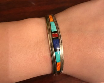 Vintage Zuni inlay cuff bracelet signed