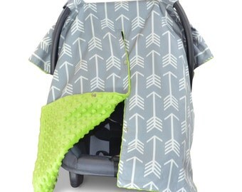 Carseat Canopy | Nursing Cover | Car Seat Canopy w/ Peekaboo Opening™- Arrow w/ Lime Green Minky for Baby Boy or Girl | Breastfeeding Cover