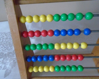 Wooden abacus with plastic beads primary colours