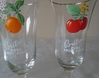 vintage britvic fruit  juice glases