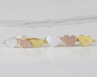 Dainty Heart Initial Ring • Personalized ring • stacking ring • letter ring • customized initial ring • Sterling silver ring (HCR OD heart)