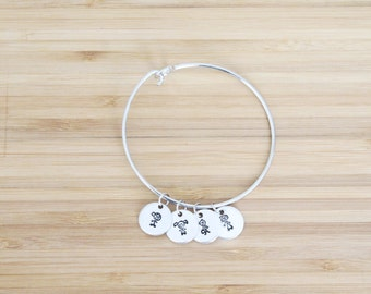 hand stamped charm bracelet | family