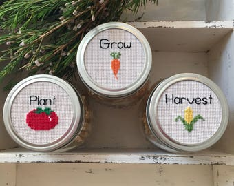 Plant Grow Harvest Mason Jar Set, Mason Jar Decor, Mason Jar Lids, Cross Stitch Art, Gardening Gift, Farmhouse Decor