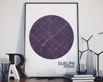 Guelph, Ontario City Map Print