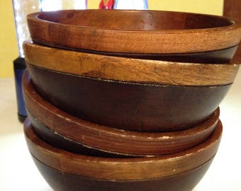 Vintage set of four weathered salad bowls