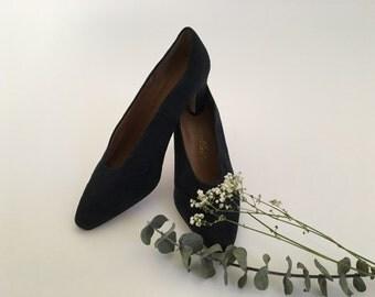 Sapphire blues 40s/50s kitten heeled leather pump