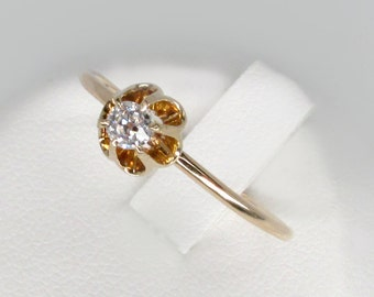 gold diamond ring, antique diamond ring, 14k gold solitaire diamond ring,  Victorian diamond ring, antique old mine cut engagement ring