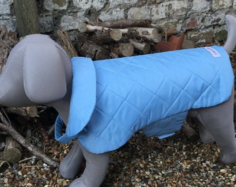 Light Blue Quilted Water Resistant Dog Coat