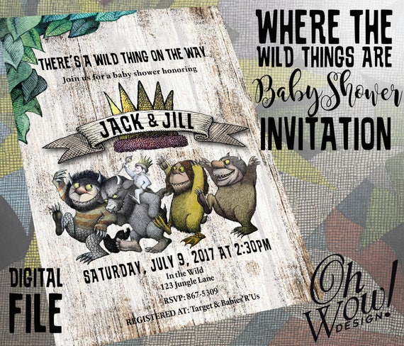 Where the Wild Things Are Theme Baby Shower Invitation from