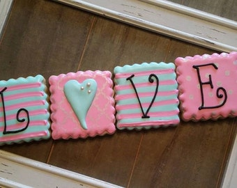 Valentine's Day Pink and Blue Striped Love - 4 cookies