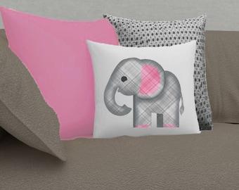 Plaid Elephant Emoji Pillow Cover