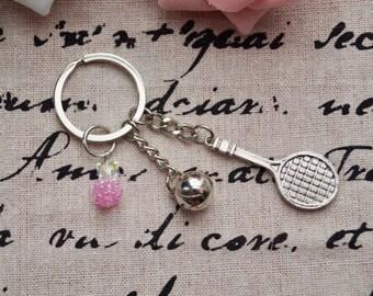 Tennis Keychain Charm with Crystal