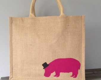 Hippo in a top hat Large jute reusable shopping tote, burlap/ hessian bag, hand painted jute bag. Hippopotamus bag. Hot pink. funny tote bag
