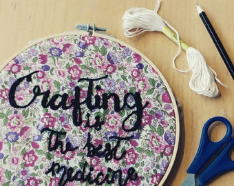 Crafting embroidery hoop, decor, wall art, craft room decoration, crafting is the best medicine, hand embroidered, gift, present, for her