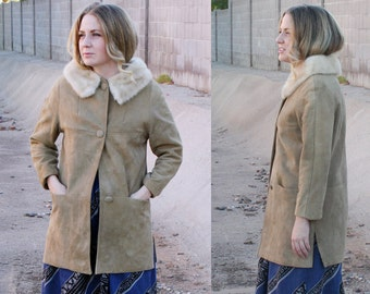 60's Suede Coat with Fur Collar, Jackie O Coat