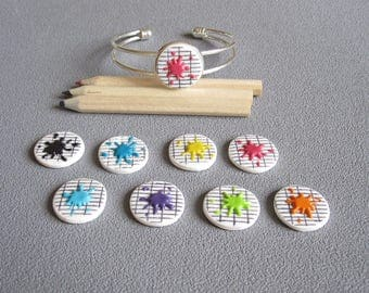 Bracelet silver plated schoolmistress gift idea: book of schoolboy  squaring and spots of color  / teacher gift