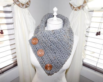 Grey Crochet Cowl With Big Buttons