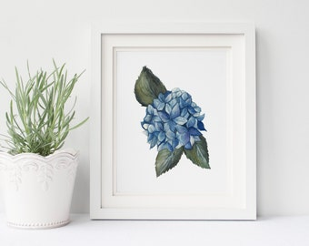 WATERCOLOR print, Blue flower, Floral print, Painting, Hydrangea, Art