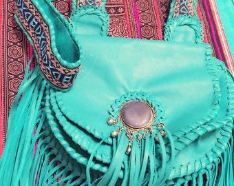 Leather Fringe boho handbag hand made one of a kind Tribal woven fabric embellished crossbody