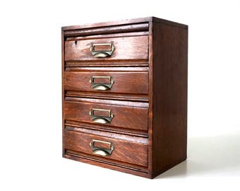 Antique Wooden Filing Cabinet - Mahogany & Brass Handles - 4 Drawer - Antique File Cabinet - Small Drawers - Index Card Box