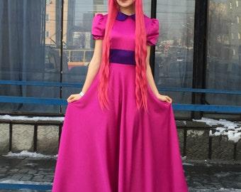 Princess Bubblegum Cosplay Dress Adventure Time Cartoon Party Carnival Costume
