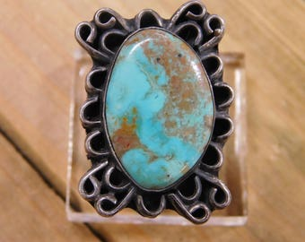 Vintage Turquoise Sterling Silver Ring Size 9
