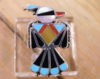 Sterling Silver Inlay Thunderbird Ring Size 9.5