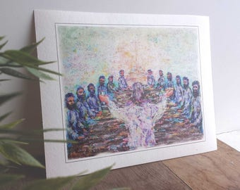 Art print of the colorful painting ' supper ', on hand made paper.