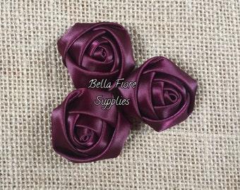 Dark Plum Mini Rolled Rosette Satin Flowers, Eggplant Satin Rosette Flowers-  1.5  inch, Satin Flowers, Fabric Flower