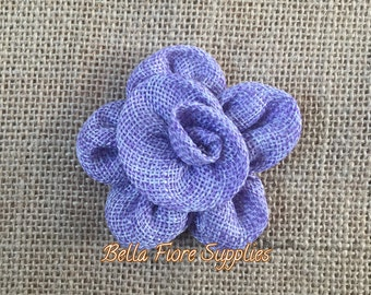 Lavender Burlap Flowers, Purple Burlap Flower- 3 inch Rosette, Burlap Flowers, Wedding Supply, Burlap Rose