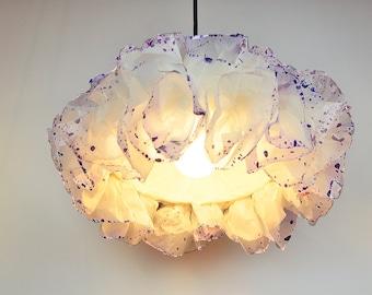 White and Purple Paper Pendant Light, Baby Nursery room light, Paper Lamp, hanging light, Ceiling Lamp shade, Girls Room Lamp