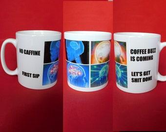 Expanding Brain Meme Inspired Coffee Tea Mug 10oz Tumblr Reddit