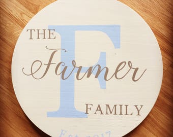Last Name/Initial Established Sign - 18in Circle, great for wedding gift!