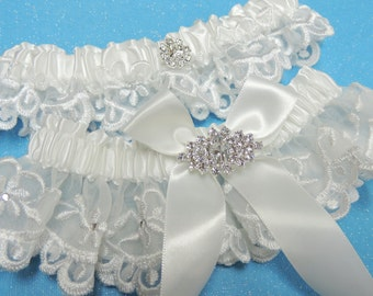 White wedding garters,  Wedding garter set,  Garters