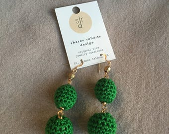 Fun Festive Crocheted Thread Bead Stack Earring in Kelly Green and Brass