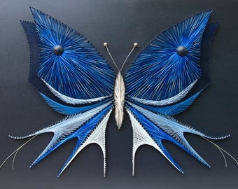 String art butterfly | Blue butterfly | Nails and strings art | Butterfly string art | String art butterfly