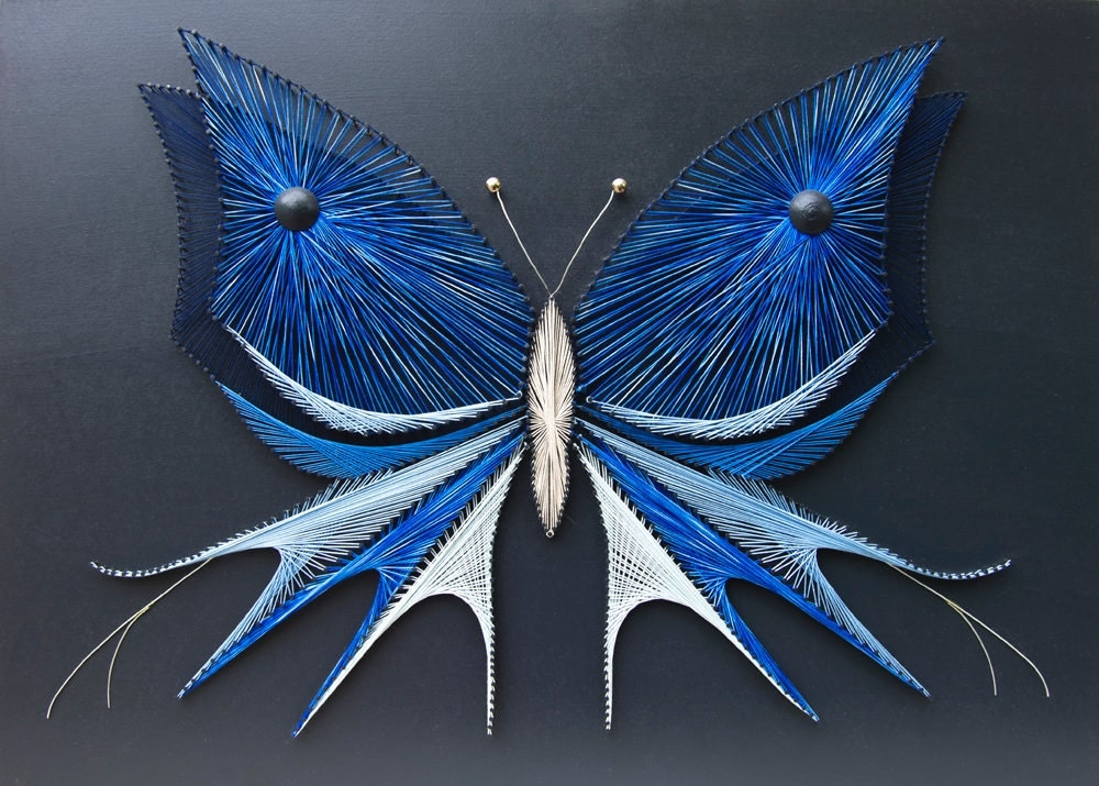string art butterfly blue butterfly nails and strings art. Black Bedroom Furniture Sets. Home Design Ideas