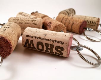 Wine Cork Keychain - Party Favor - Wedding Favor