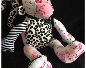 Keepsake Memory Monkey, Memory Bear, Baby Clothes Bear, Patchwork, Beautiful Gift