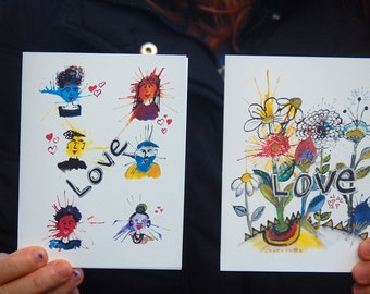 Love Card Set. Blank Cards. Flower Cards. Cute Cards.