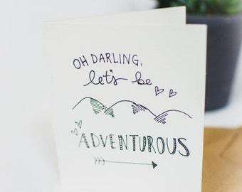 """Adventure Handmade Card """"Oh Darling, Let's be adventurous"""""""