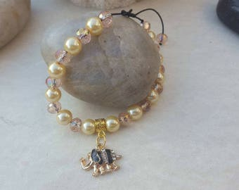 Bracelet Pearl Crystal elephant bracelet, elephant jewelry rhinestone Crystal elephant charm Bead Bracelet bracelet macrame