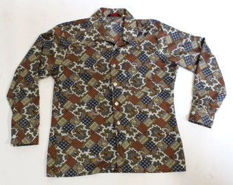 1970's Men's Paisley Abstract Print Disco Polyester Button Down Shirt, Size Large