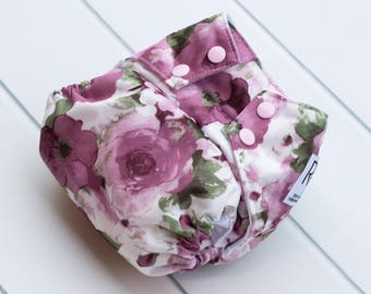 One Size Cloth Diaper. Floral Watercolor Cloth Diaper. All in One. All In 2. Diaper Cover & Insert. OS Cloth Diaper. Bamboo Velour Insert.